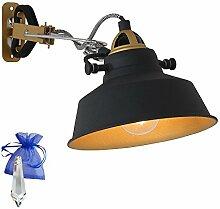 Klemmleuchte Schwarz matt mit E27 Fassung 230V Klemmlampe Wandleuchte Industrial Leselampe für LED und Glühlampe im Werkstatt-Leuchte Fabriklampen Loft-Lampe Retro Look + Giveaway