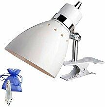 Klemmstrahler Weiß mit E27 Fassung 230V Klemmlampe Klemmleuchte Industrial Leselampe Industrie Design für LED und Glühlampe + Give-Away
