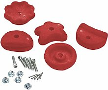 Klettersteine rot (5er-Set) mit Schrauben für Spielturm, Größe M, Kinderspielgeräte für Garten, Spielgeräte für Kinder, Spielturm