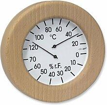 Klimamesser für Infrarotkabine im Holzrahmen rund
