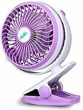 Klipp auf dem Schreibtisch Ventilator Mini-Tisch Personal Fans USB oder batteriebetrieben, ruhig Entwurf, 6 Zoll, Lila