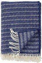 Klippan Creme-Blaue Wolldecke 'Sumba' aus