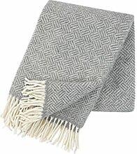 Klippan: Creme-graue Wolldecke 100% Lambswool,