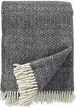 KLIPPAN: Creme-graue Wolldecke 'Hekla' mit dezentem Rauten-und Zickzackmuster 130x200cm aus Öko Lambswool, ca 900 g