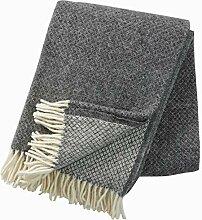 KLIPPAN: Creme-graue Wolldecke mit Rautenmuster