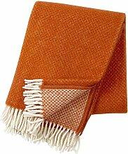 KLIPPAN: Creme-rostorange Wolldecke 'Rost' mit Rautenmuster 130x200cm aus Lambswool, ca 900 g