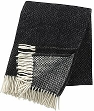Klippan: Creme-schwarze Wolldecke mit Rautenmuster