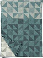 KLIPPAN: Grüne Wolldecke 'Shape', 130x180cm, 100% Lambswool