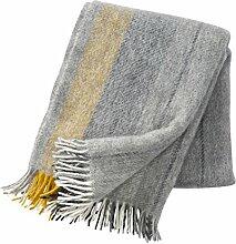 Klippan Gute Wolldecke 130x200 cm - grau, gelb