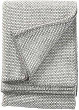KLIPPAN Leichte hellgrau-grau melierte Wolldecke