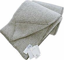 KLIPPAN Leichte hellgrau-grau melierte Wolldecke aus Lambswool, 130x180cm