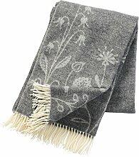 Klippan premium: Grau melierte Wolldecke 'Flower meadow' aus 60% Merinowolle - 40% Lambswool, 130x200cm