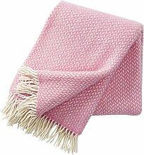 Klippan Wolldecke mit hell pinkfarbenen und cremefarbenen Zickzackstreifen 130x200cm aus Lambswool, ca 800 g