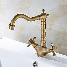 KLMSLT Wasserhahn Antike Messing Waschbecken