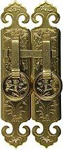 Klopfer,Klassische griff Tür- und ventilator messing antik griff Gerader griff Möbelgriffe Kabinett gesicht flach 4 * 20cm-B