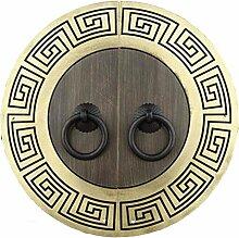 Klopfer,Vintage messinggriff Chinesisch zu behandeln Antike runde griff Kabinett türklinke Möbelgriff Hardware Face plate schraube schrankeinbau-F