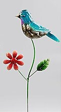 Klp Gartenstecker Vogel Blume Metall Gartendeko