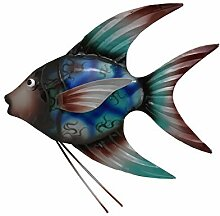 KLP Wanddeko Metall Fisch Zierfisch Wandbild Deko