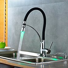 KLYBFN&N Chrome Messing Küchenarmatur Led Auslauf