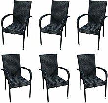 KMH®, 6er Set Stapelstuhl Tajs Gartenstuhl aus