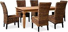 KMH®, Esszimmer Sitzgruppe (6 Rattanstühle aus dickem Bananengeflecht und 1 massiver Esszimmertisch) (#201040)