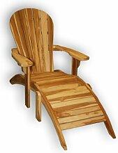 KMH, Teak Adirondack Chair Classic mit Fußablage
