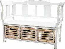 KMH®, weiße Sitzbank Bretagne mit 3 Holzkörben