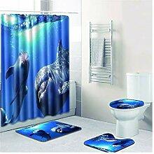 Knbob Badematte Set 7 Teilig Delphin Stil 03 Wc