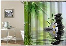 Knbob Badezimmer Duschvorhang Plumeriastein,