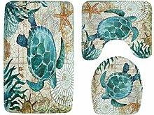 Knbob Badezimmer Teppich 3 Set Schildkröte