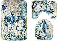 Knbob Badezimmer Teppich 3 Set Seepferdchen