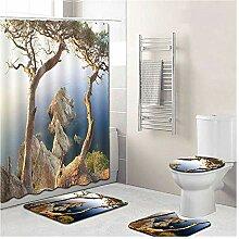 Knbob Badezimmer Teppich 5 Teilig Landschaft Stil