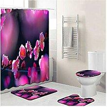 Knbob Badezimmer Teppich 5 Teilig Schöne Blume