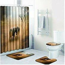 Knbob Badezimmer Teppich 6 Teilig Elefant Stil 01