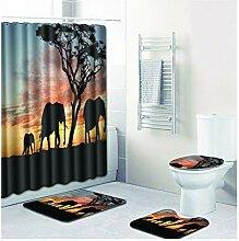 Knbob Badezimmer Teppich 6 Teilig Elefant Stil 04