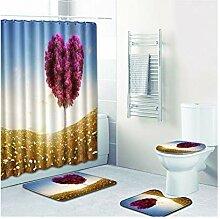 Knbob Badezimmer Teppich 7 Teilig Herz Blume Stil