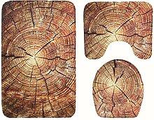 Knbob Badezimmerteppich 3Er Set Holz Braun Wc