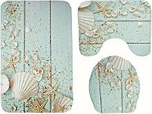 Knbob Badezimmerteppich 3Er Set Schale Blau Wc
