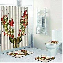 Knbob Badezimmerteppich 4 Set Blumenvogel Stil 17