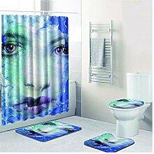 Knbob Badezimmerteppich 4 Set Gesicht Stil 7 Wc