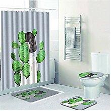 Knbob Badezimmerteppich 4 Set Kaktus-Mädchen Stil