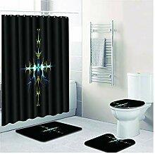 Knbob Badezimmerteppich 4 Set Sternenkreuz Stil 4