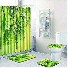 Knbob Badezimmerteppich 7 Set Blätter Stil 09