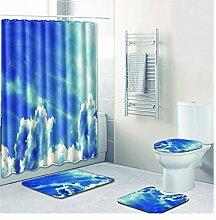 Knbob Badezimmerteppich 7 Teilig Blauer Himmel Und