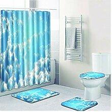 Knbob Badezimmerteppich 7 Teilig Wolke Und Blauer