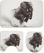 Knbob Badteppich 3Er Set Elefant Grau Teppich Set