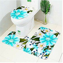 Knbob Badteppich 3Teilig Blaue Blume Blaue Blume