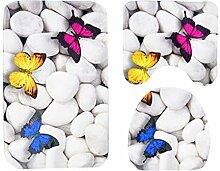 Knbob Badteppich 3Teilig Schmetterling Bunt Wc