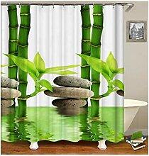 Knbob Duschvorhang Waschbar Bambus Mehrfarbig