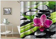 Knbob Duschvorhang Waschbar Bambus Orchidee Stein